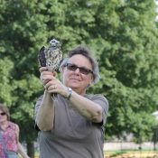 Volunteer Renee ready to release a rehabbed Broad Winged Hawk