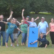 Some Talon Trust volunteers celebrating a successful raptor release!